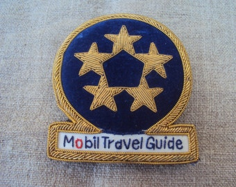 Vintage Hand Embroidered Gold Bullion Emblem Metallic Thread Patch Insignia Crest Mobil Travel Guide