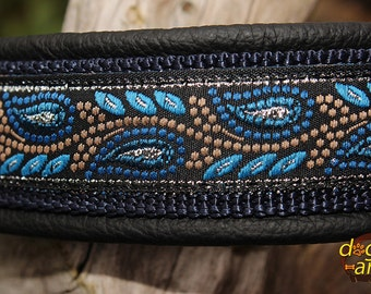 Handmade Martingale Chain Leather Dog Collar LEAVES by dogs-art in black/dark blue/leaves blue