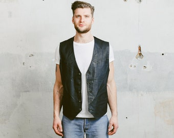 Vintage 80s Mens Vest . 1980s Sleeveless MOTO Jacket Black Leather Biker Rocker Waistcoat Man 80s Boyfriend Gift . Large XL