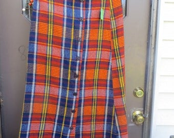 Vintage 60s-70s  new button down front acrylic   Plaid Maxi skirt Hippie  Retro Hipster Mod sz 11-12
