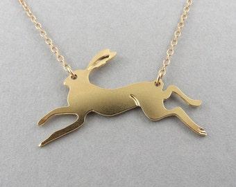 rabbit necklace, running rabbit, animal pendant, rabbit jewelry, gold rabbit, rabbit charm, rabbit