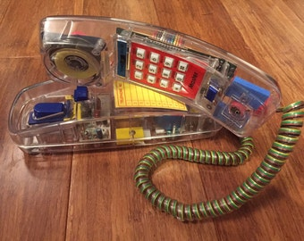 Vintage 80s 90s CLEAR neon multicolor teen PHONE raver