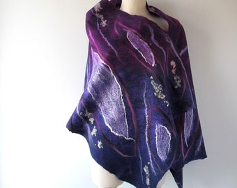 Felted scarf,  Violet felt scarf, Purple scarf   warm spring scarf, Wool  Dark Blue  wool shawl, women felt shawl by Galafilc