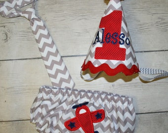 Boys Diaper Cover and Little Man Tie, and Birthday hat Cake Smash- Photo Prop, First Birthday Outfit-Airplane birthday outfit