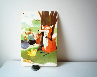 Vintage Large Flash Card Retro Fox, Turkey, Hens and Duck Print 1960's