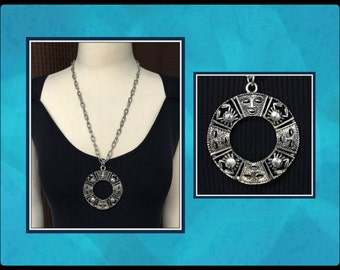 Vintage Talisman of Love Necklace, Sarah Coventry, Crabs, Mask, Zodiac, Artist Durriya Shikari, 1970's