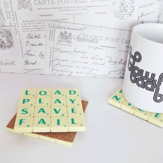 Load Play, Save Fail Coaster, Upcycled Scrabble Tiles, Geeky Gaming Quotes, Cork Backing, Desk Accessories