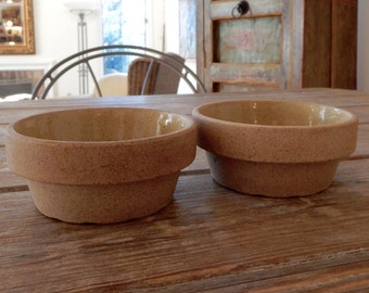 Yellow Ware Star Fire Clay Bowls Crocks Custard Size Antique American Pottery Speckled Ecru Glazed Interior Unglazed Natural Exterior