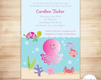 Pink Under The Sea Baby Shower Invitation   Baby Girl Shower   Beach Baby  Shower Invite