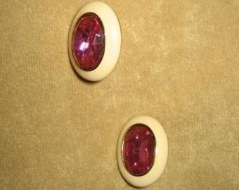 Oval Pierced Earrings Rhinestone 80s Vintage
