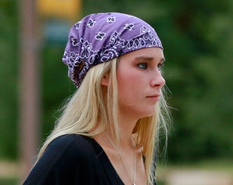 Shabby Headwrap, Plum Purple Headwrap, No Slip Head Scarf, Bandanna Head Wrap, Dusty Purple Bandana Headscarves (#2023) S M L