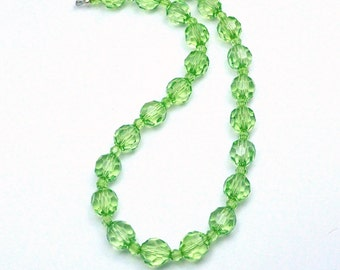 Green Bead Necklace Faceted Acrylic