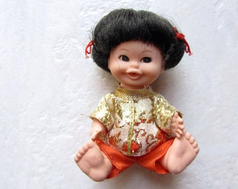 SALE!  UNEEDA Lil Sprout Asian Doll 1971 Hong Kong UD Co., Inc. Original Outfit Japanese Chinese China