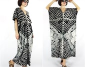 Bleach Dye Black Skeleton & Lace Graphic Print Cotton Jersey Sundress Maxi Dress Women Tops Dress Poncho dress Kaftan