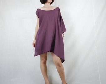 Sleeveless With One-Side Poncho Styling Wide Scoop Neck Asymmetrical Hem Azo Free Color Dusty Plum Light Cotton Blouse Tunic Top