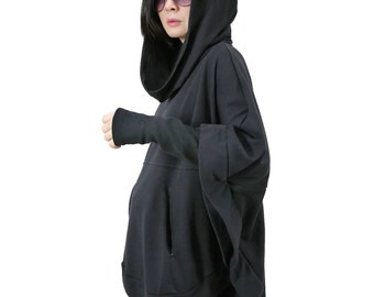 Black Oversize Hood Cape Batwing Sweater Dolman Sleeve Blouse Women Tops With 2 Pockets Size 4 To Size 3X