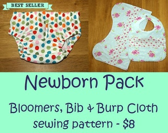 Newborn gift pattern, Baby gift sewing pattern, Baby shower gift, Bib pattern - Baby Bloomers pattern + Bib & Burp Cloth pattern