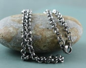"""26"""", 925 Solid Sterling Silver 4mm Rolo Chain For Pendant Charm 925 Rustic Oxidized Rollo Chain Belcher Chain Unisex"""