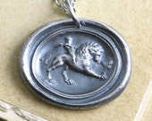 Sterling Lion Necklace,  Cupid Wax Seal Necklace,  Love Conquers All, Valentines Gift, God of Love, Eros, Unisex