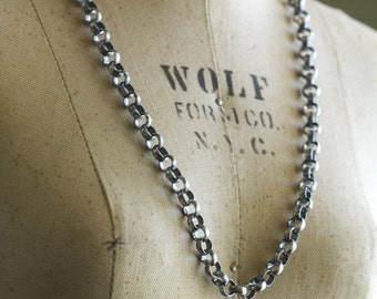 """Mens Unisex Sterling Silver Chain Necklace, Chunky 20"""" 6.3 mm Rolo Belcher Necklace, Womens Chain, Rustic Chain"""