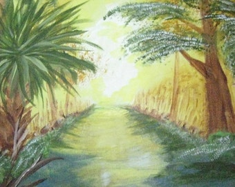 Everglades Painting, Swamp Acrylic Painting