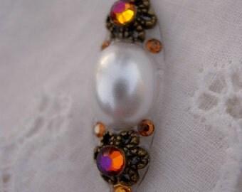 Pearl Rainbow Bindi - swarovski belly dance tribal fusion crystal pearl bindi