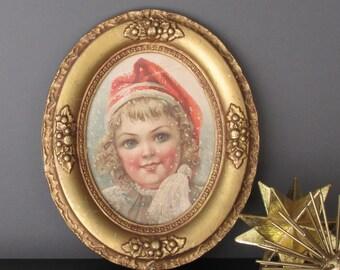 vintage decor - antique oval frame - picture frame - antique - vintage