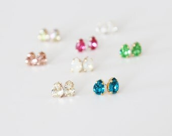 Teardrop Sparkling Swarovski Studs - eight color choices