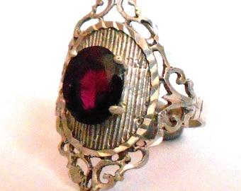 Large Vintage Sterling Silver Filigree Ring