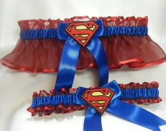 Handmade superman wedding prom garters red and blue garter