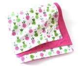Baby Blanket - Minky Blanket - Baby Girl - Soft Flannel Cotton - Happy Pineapples - Pink and Green Tropical Beach Baby