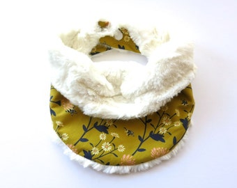 Baby Infinity Scarf Bib - Reversible Faux Fur Lined Cowl Neck Warmer - Mustard Navy Pink Floral Autumn Fall Winter - Baby Girl Gift