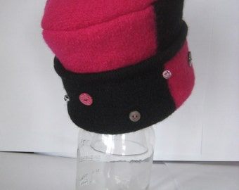 Handmade Child's Recycled Wool Hat with buttons ~ pillbox hat, photo hat, girls hat, girl gift
