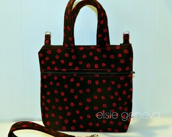 Custom Made Black & Red Swirls Pouch Choose Any Fabric in My Shop Small Purse Cross Body Cosmetic Travel Handles Shoulder Strap Wristlet