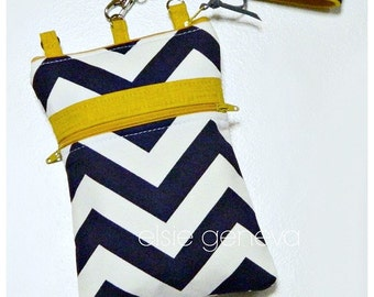 Navy Blue Chevron and Mustard Yellow iPhone 5 6 6S 6Plus Phone Case with Wristlet and Optional Shoulder Strap Zipper Closure