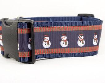Snowman Dog Collar - 2 inch wide - christmas dog collar - Thick dog collar - big dog collar - snowmen dog collar - winter dog collar - boy
