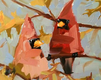 Autumn Cardinal Couple Original Bird Oil Painting by Angela Moulton 8 x 8 inch on Maple Panel pre-order