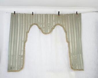 Fabulous antique French silk curtain pelmet, window dressing, lambrequin, blind frame