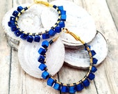 Royal Blue Wood Hoop Earrings, Navy Blue Gold Wire Wrapped Beaded Hoops, NFL Inspired Gift Idea for Her Girlfriends Best Friends Coworkers