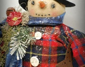Primitive Folk Art Snowman Doll Snow lady  Snow People OOak Christmas Holiday Decoration Collectible winter
