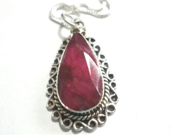"Ruby Pendant Necklace Ruby Teardrop Pendant with Solid Sterling Silverwork on 16"" Solid Sterling Box Chain"