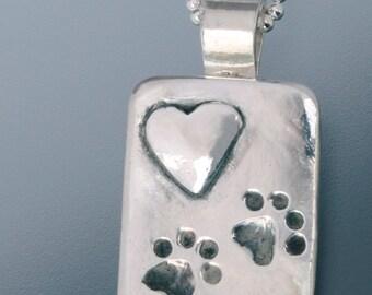 Dog Paws and Heart Pendant - Dog Paw Pendant - Dog Paw Jewelry - Dog Jewelry - Dog Lovers Jewelry - Paw Jewelry - Hearts