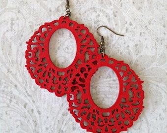 Red Wood Filigree Earrings  Boho Gypsy Bronze Tichel Accessory Flower Earrings Large Wooden Hoop Earrings Big Lightweight Earrings