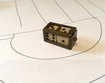 Antique Bone Dice Pendant Hinged Locket Gambling Game