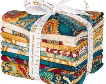 TRIESTE JEWEL Fat Quarter Bundle - Robert Kaufman - 18 x 22 Fabric Squares - Jewel Tones Metallic Paisley Cotton Quilting Fabric