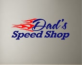 Personalized Speed Shop Garage Decal Wall Sticker Removable Custom Wall Art