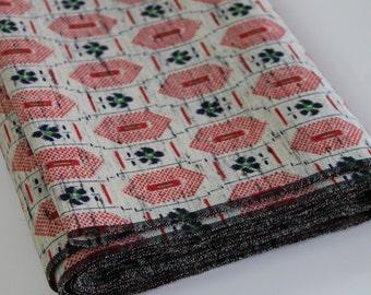 Vintage Japanese Kimono Fabric wool kimono fabric geometric hexagon floral design red navy blue green cream woven floral ikat design 1yd