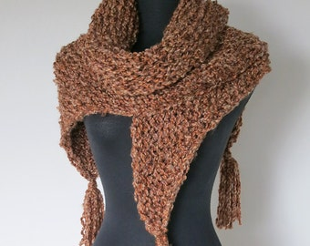 SALE - Rustic Wrap Shawl Light Brown Taupe Beige Melange Color Chunky Yarn Knitted Wrap Stole with Tassels Fringes