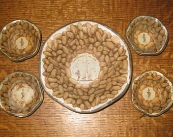 Mr. Peanut Worlds Fair New York Souvenir 1939 Bowl Nut Cups Tin Litho Vintage Serving Dishes