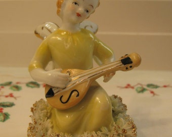 Angel Figurine - Vintage Norcrest - Playing Mandolin -  Angel - Spaghetti Trim - Real Gold - Yellow Gown